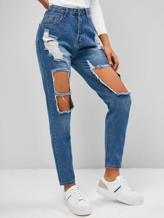 new Ripped Cutout Pocket Boyfriend Jeans - BLUE S