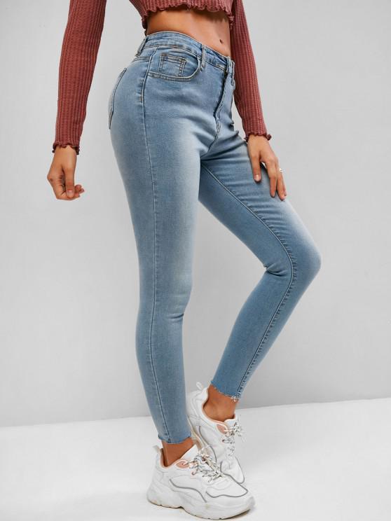 Mid Waisted Raw Hem Skinny Jeans - أزرق فاتح S