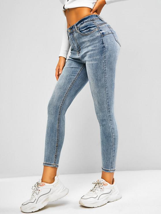Mid Waisted Cat Whisker Skinny Jeans - أزرق فاتح S