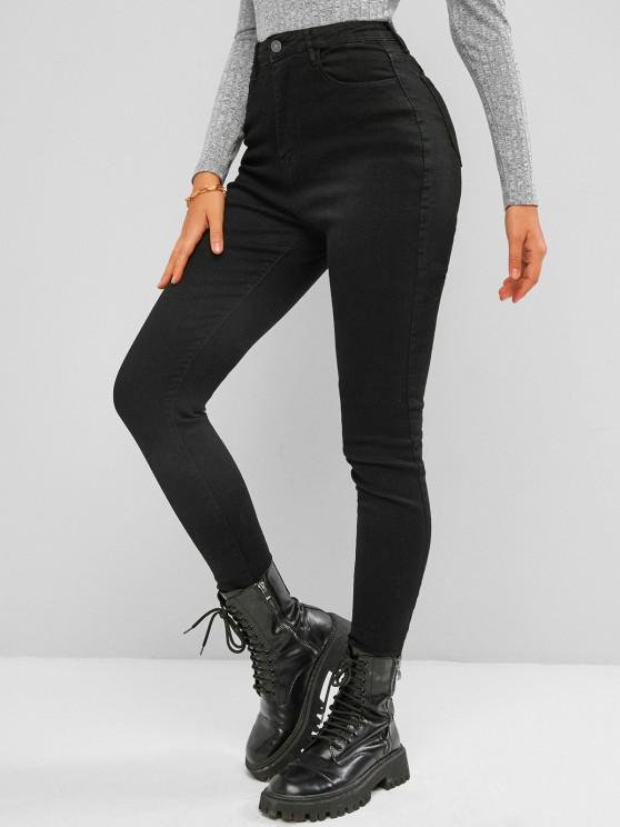Jeans Oscuro Ajustado Cintura Alta - Negro L