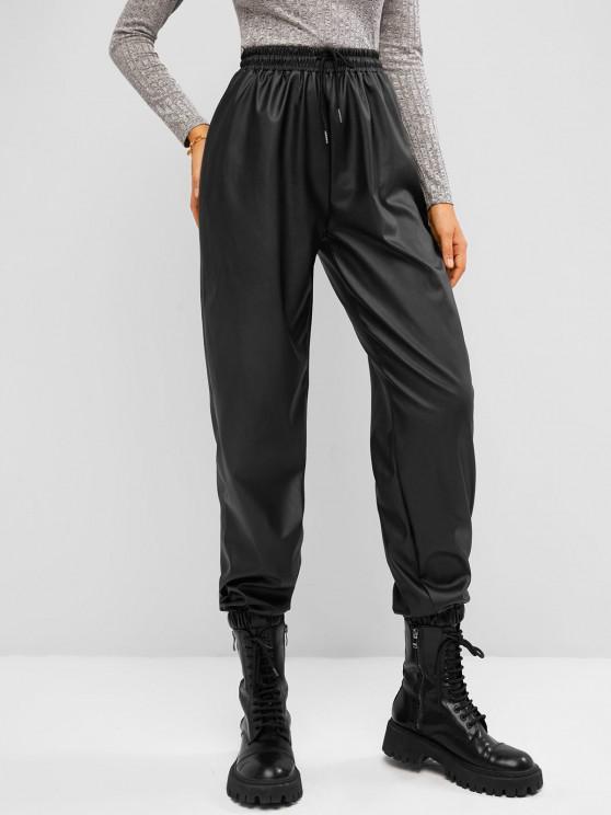 shop Drawstring Waist Faux Leather Beam Feet Pants - BLACK S