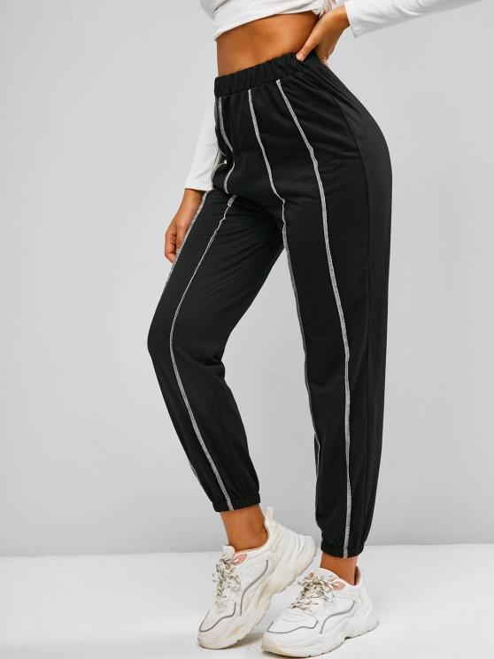 lady ZAFUL Contrast Topstitch Pull On Sweat Pants - BLACK S