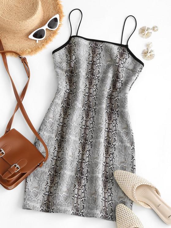 hot Cami Faux Suede Snake Print Slinky Dress - LIGHT GRAY L