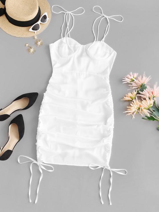 shop Cinched Side Tie Shoulder Bodycon Dress - WHITE M