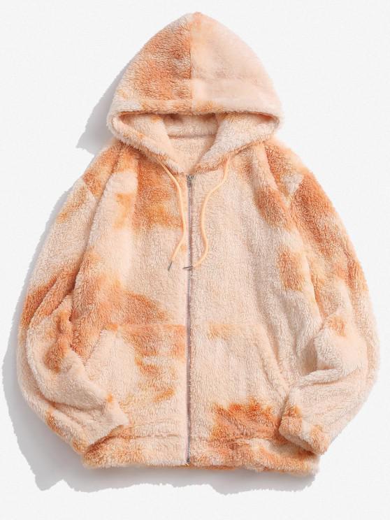 trendy Hooded Zip Up Tie Dye Fluffy Hoodie - MULTI XL