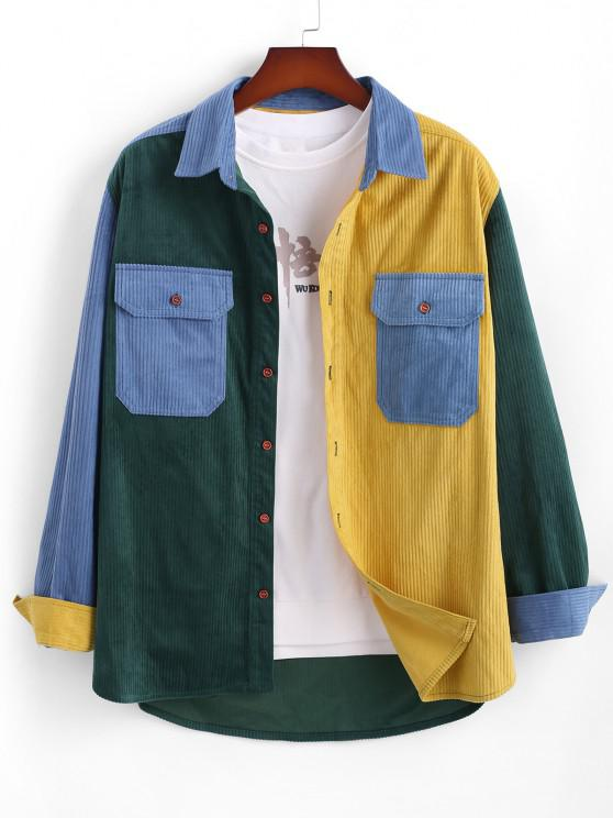 Double Pockets Contrast Ribbed Jacket - متعدد XL