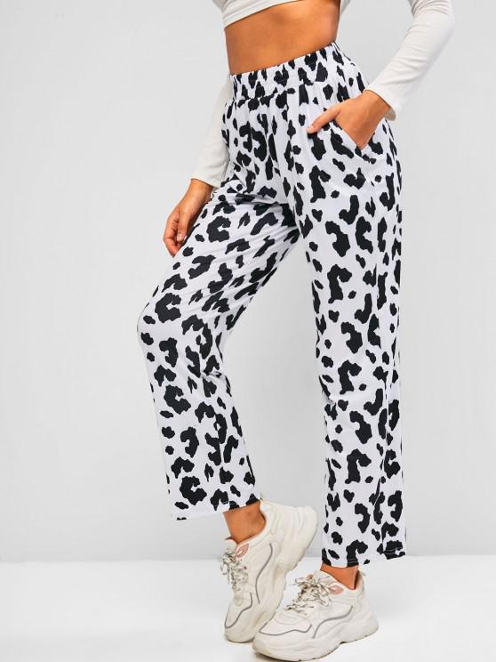 ladies Cow Print Pull On Straight Pants - BLACK L
