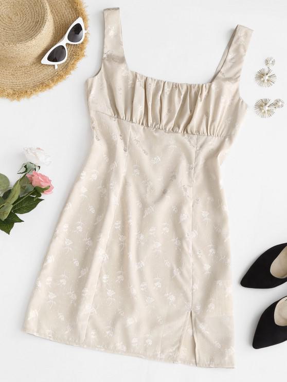 women Ruched Jacquard Silky Front Slit Mini Dress - LIGHT COFFEE L