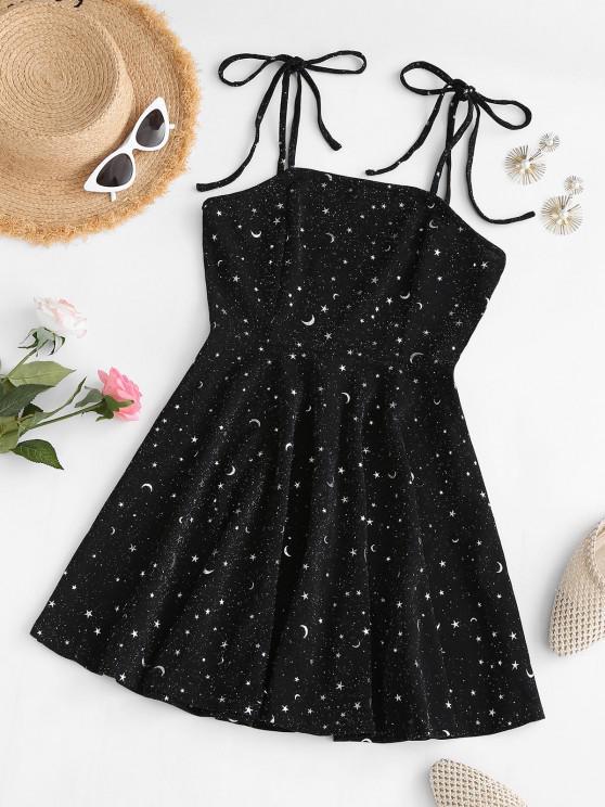 women Metallic Thread Sparkly Star Moon Tie Shoulder Mini Dress - BLACK XL