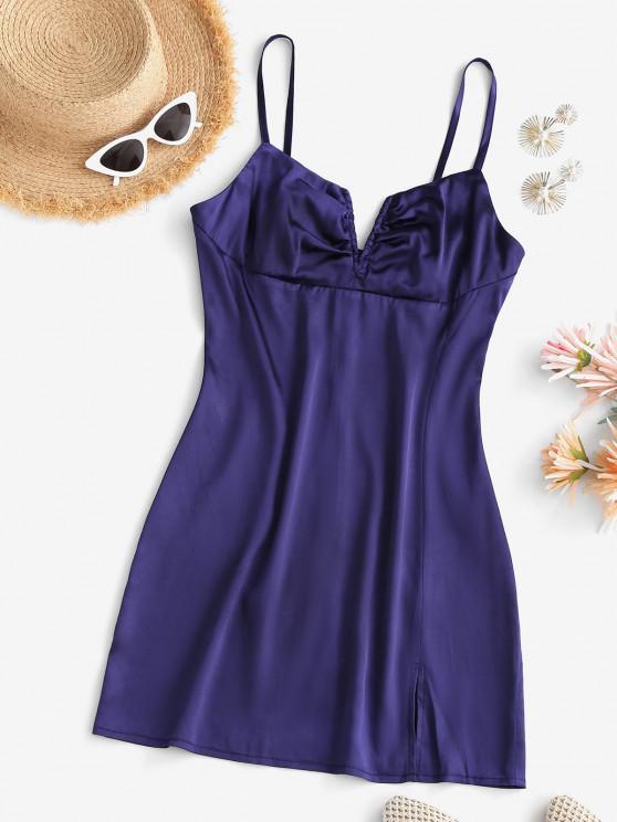 ladies Slit V-wire Silky Cami Mini Dress - DEEP BLUE L