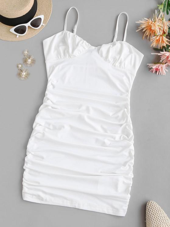 best Cami Bustier Gathered Side Slinky Dress - WHITE S