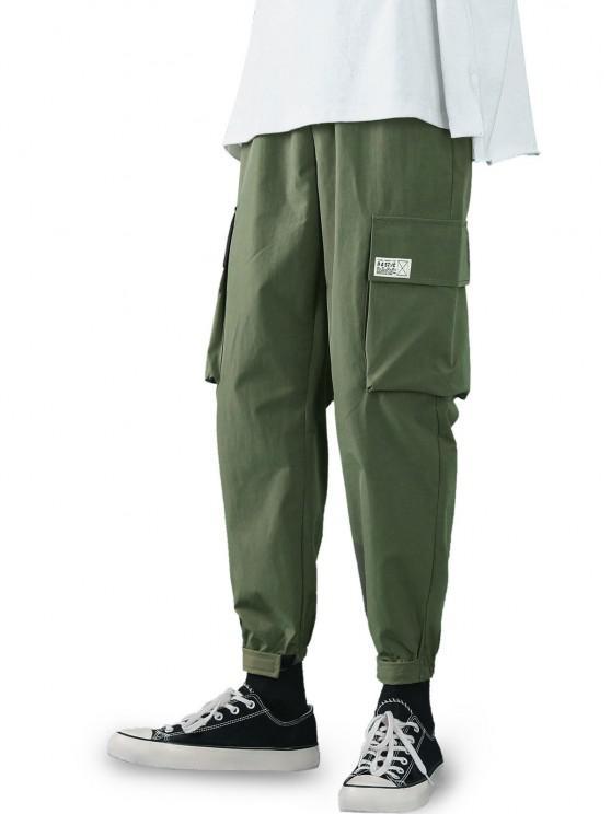 Hook and Loop Letter Applique Cargo Pants - الجيش الأخضر S