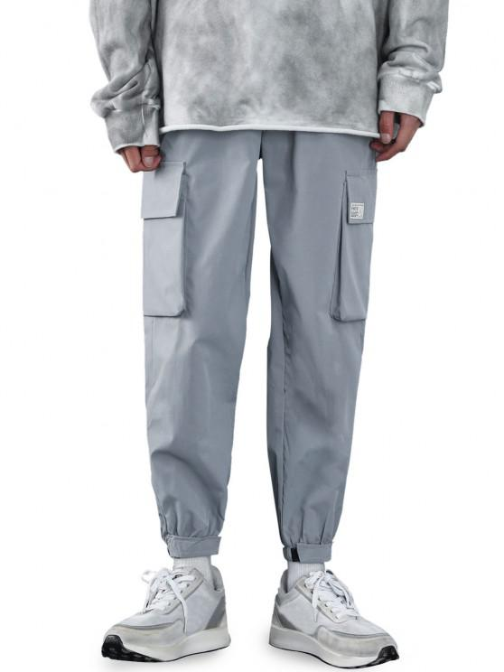 fashion Hook and Loop Letter Applique Cargo Pants - LIGHT GRAY XS