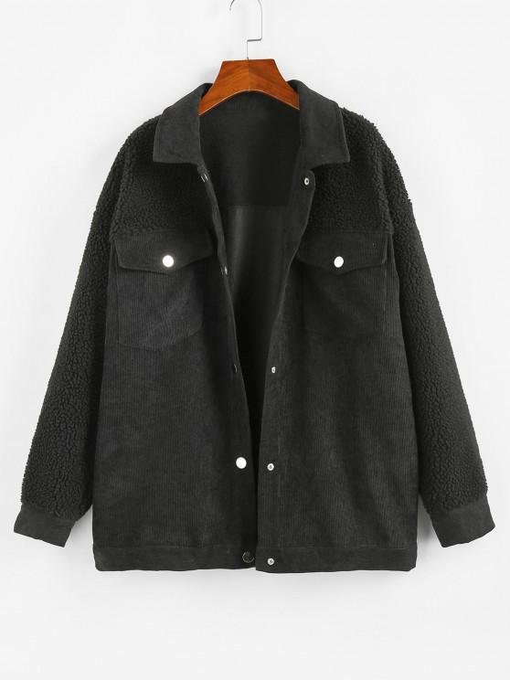 women's ZAFUL Corduroy Faux Shearling Flap Pocket Jacket - BLACK S