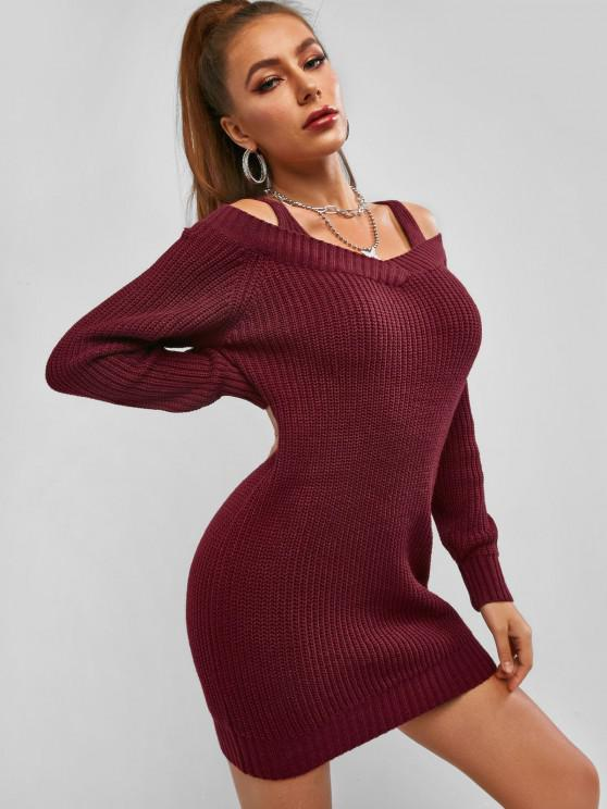 fashion ZAFUL Cold Shoulder Sweater Dress - DEEP RED S