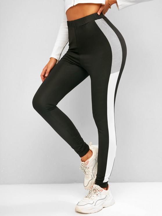 best ZAFUL Active Beam Feet Colorblock Leggings - BLACK XL