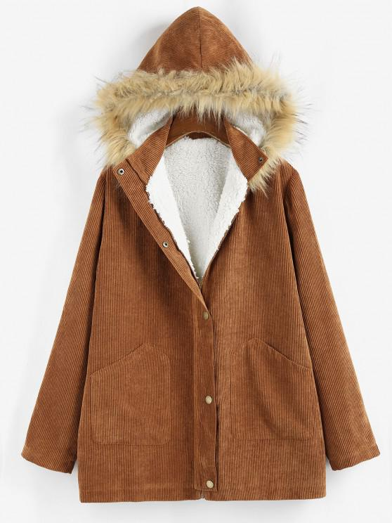 ZAFUL Corduroy Fluffy Lined Hooded Zip Up Coat - بنى M