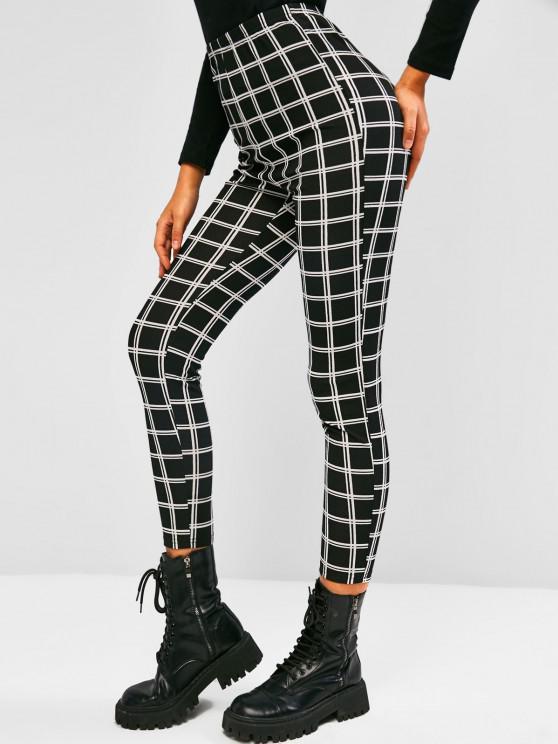 shop ZAFUL Grid High Rise Leggings - BLACK S