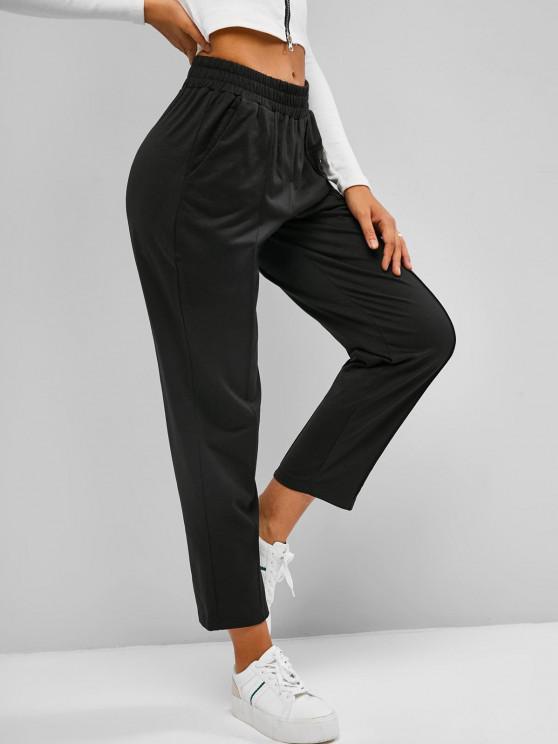 ZAFUL Pantalon de Survêtement de Neuf Minutes à Taille Haute - Noir M