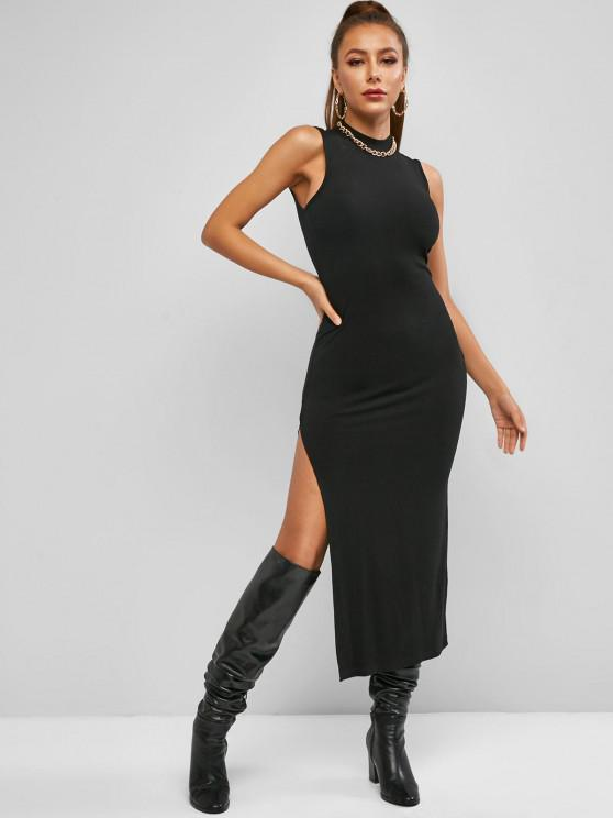 ZAFUL Mock Neck Rib-knit Slit Slinky Sleeveless Maxi Dress - أسود M