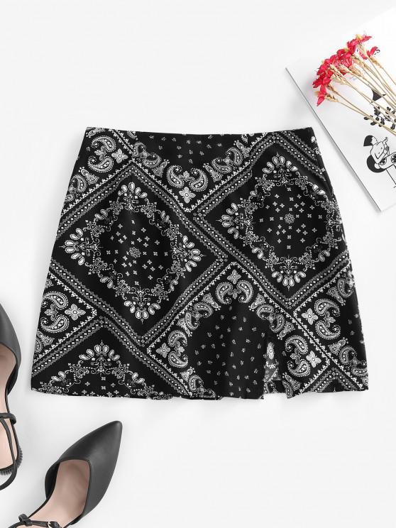 fancy ZAFUL Scarf Print Slit Mini Skirt - BLACK S