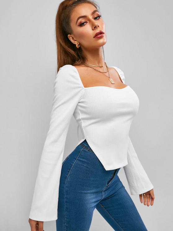 women's ZAFUL Ribbed Side Slit Long Sleeve Baby Tee - WHITE L