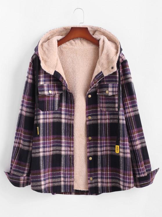 women Plaid Pattern Pocket Plush Hooded Shirt Jacket - BLACK S