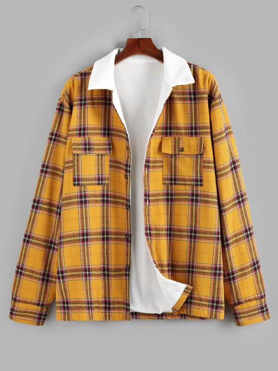 women ZAFUL Plaid Print Double Pockets Fleece Shirt - YELLOW S