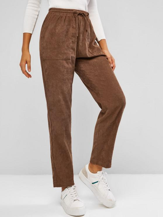womens ZAFUL Drawstring Corduroy Patch Pocket Straight Pants - COFFEE S