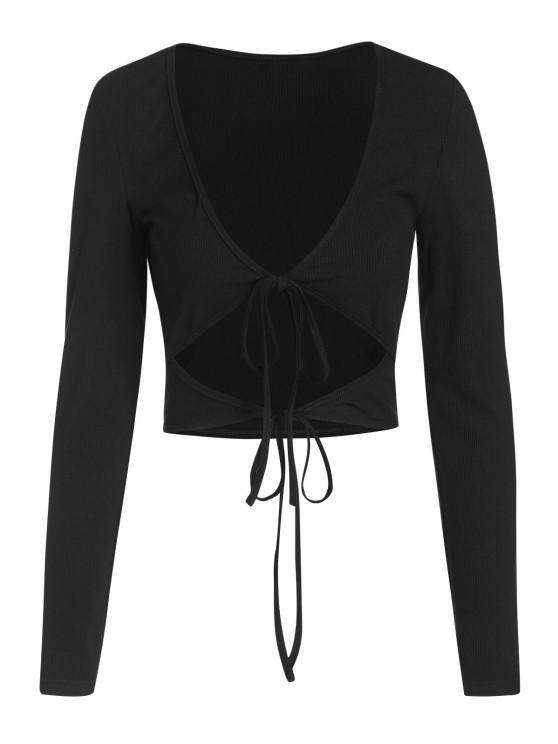 affordable ZAFUL Ribbed Low Cut Long Sleeve Cutout Tee - BLACK S