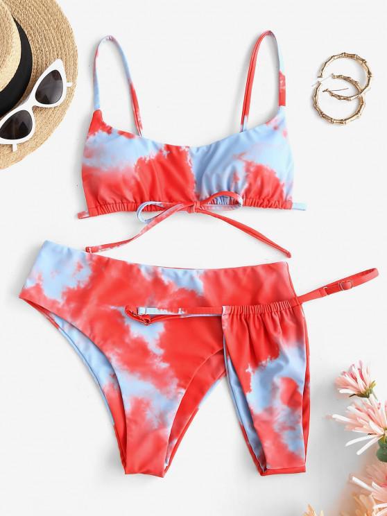 lady ZAFUL Tie Dye Three Piece Bikini Swimsuit - MULTI L