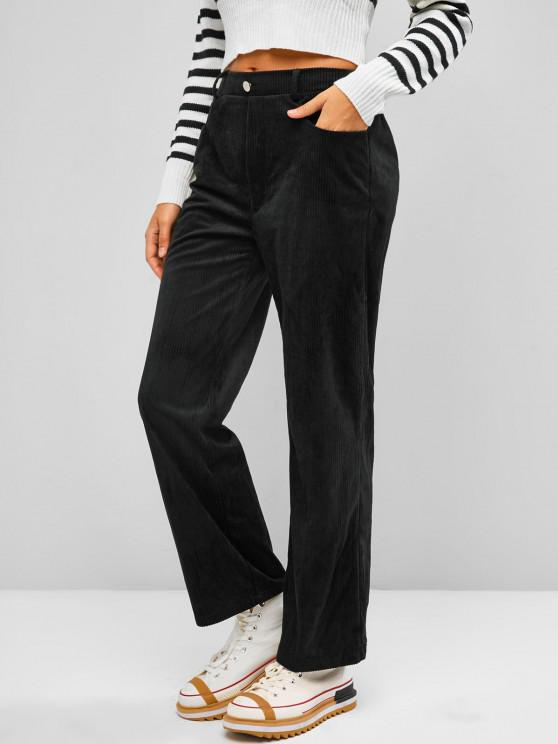 ZAFUL Corduroy Straight Fit Pants - أسود S