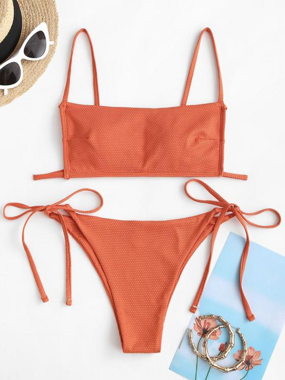 unique ZAFUL Textured Tie Side Tanga Bikini Swimwear - ORANGE S