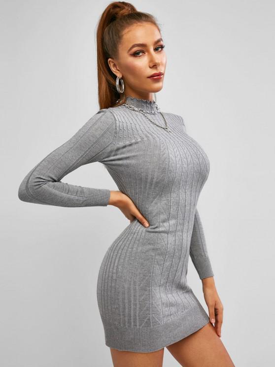 shops Mock Neck Cable Knit Slinky Dress - LIGHT SLATE GRAY ONE SIZE