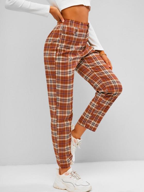 womens ZAFUL Plaid Straight Pants - COFFEE M