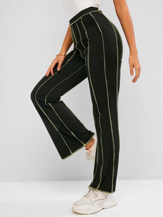 women's ZAFUL Topstitching High Waisted Bootcut Pants - BLACK S