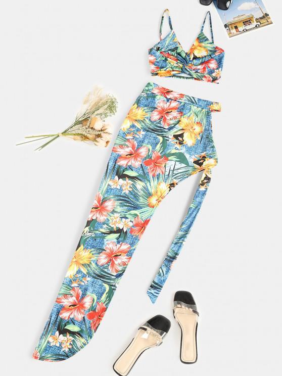 trendy Floral Twist Asymmetrical Tie Side Two Piece Dress - MULTI M