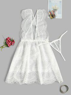 Lace Layered Sheer Criss Cross Sexy Babydoll Set - White