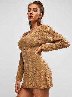 ZAFUL Cable Knit Sweater Tunic Dress - Coffee L