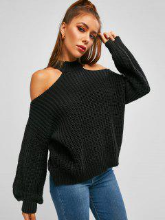 ZAFUL Oversized Cable Knit Chunky Open Shoulder Sweater - Black L