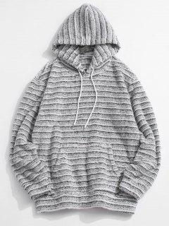 Kangaroo Pocket Striped Pattern Fluffy Hoodie - Multi L