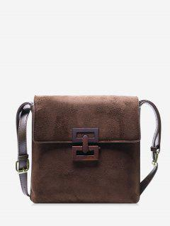Hollow Geo Square Crossbody Bag - Coffee