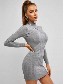 Mock Neck Cable Knit Slinky Dress - Light Slate Gray