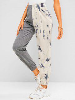 ZAFUL Tie Dye Colorblock Jogger Sweatpants - Gray S