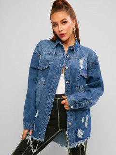 Distressed Frayed Raw Cut Boyfriend Denim Coat - Blue M
