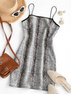 Cami Faux Suede Snake Print Slinky Dress - Light Gray M