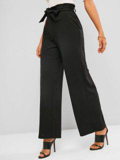 Pantaloni De Hârtie Cu Picior Larg Zale - Negru L