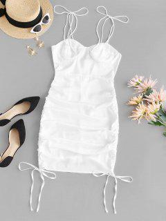 Cinched Side Tie Shoulder Bodycon Dress - White S