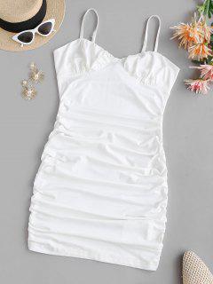 Cami Bustier Gathered Side Slinky Dress - White L