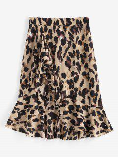 Leopard Ruffle Asymmetrical Midi Skirt - Coffee L